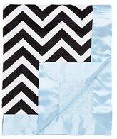 "MyBlankee My Blankee Chevron Minky Black/White w/ Minky Dot Blue Baby Blanket, 30"" x 35"""