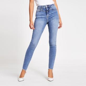 River Island Womens Blue Hailey high rise skinny jeans