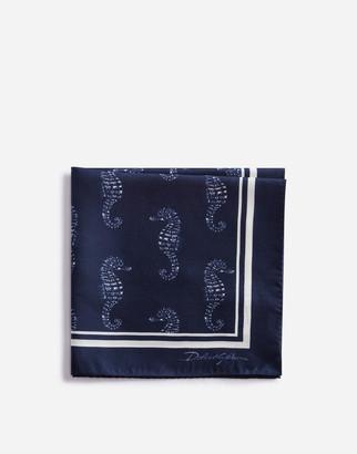 Dolce & Gabbana Pocket Square In Seahorse Print Silk