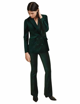 P&G Women's Suit Velvet Two Pieces Double Breasted Tuxedo for Wedding Party Green