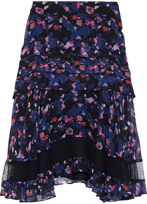 Jason Wu Ruffled Floral-print Crinkled Silk-chiffon Skirt