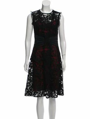 Oscar de la Renta Sleeveless Lace Dress Black