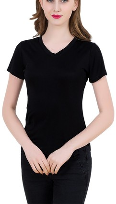LSHARON Women's 100% Mulberry Silk New Short-Sleeve V-Neck T-Shirt (M(Tag XL)