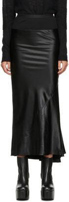 Rick Owens Black Satin Mid-Length Skirt
