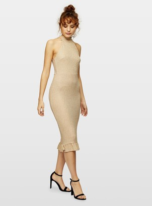 Miss Selfridge Gold High Neck Frill Hem Midi Bodycon Dress