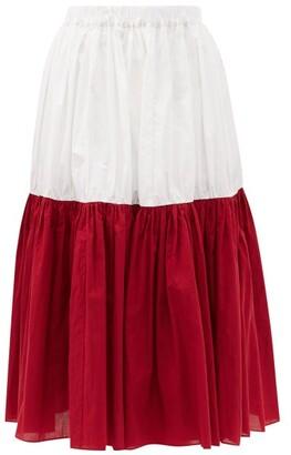 Sara Lanzi Bi-colour Banded Cotton-poplin Midi Skirt - Red White