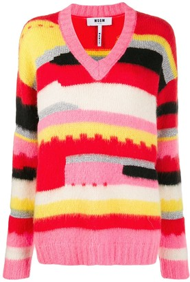 MSGM Graphic Print V-Neck Jumper