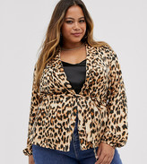 AX Paris Plus red leopard print soft jacket
