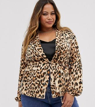 AX Paris Plus red leopard print soft jacket