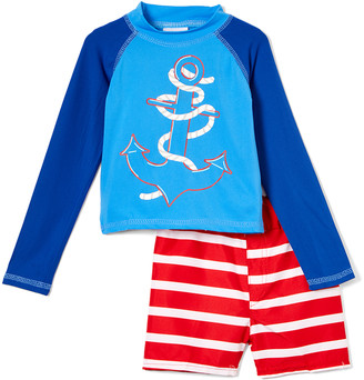 Sweet & Soft Boys' Board Shorts Blue - Blue & Red Stripe Anchor Long-Sleeve Rashguard Set - Infant & Toddler