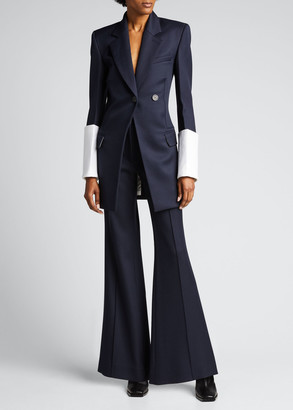 Peter Do Contrast-Cuffed Fitted-Waist Blazer