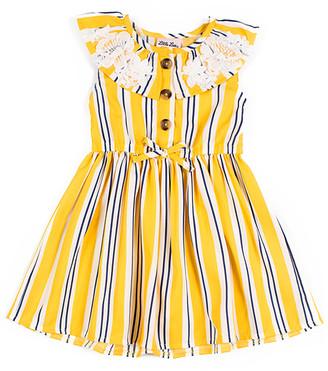 Little Lass Girls' Casual Dresses YELLOW - Yellow Stripe Cap-Sleeve Dress - Infant