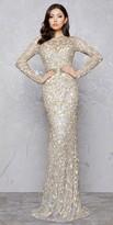 Mac Duggal Gold Branch Keyhole Evening Dress