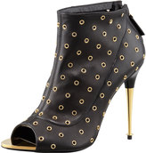 Tom Ford Peep-Toe Leather Eyelet Bootie