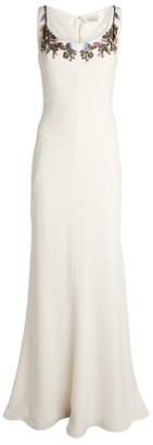 Alexander McQueen Embroidered Crepe Gown