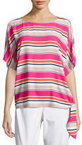 Michael Kors Petite Striped Crepe Top