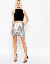 Asos Metallic Asymmetric Layer Mini Skirt