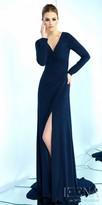 Mac Duggal Long Sleeve V-neck Jersey Wrap Evening Dress