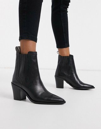 Bronx leather pointed heeled ankle boot