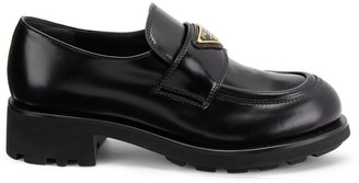 Prada Leather Lug-Sole Loafers