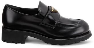 Prada Leather Lug-Sole Loafers