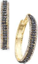 Thalia Sodi Gold-Tone Metal Mesh and Crystal Hoop Earrings, Created for Macy's