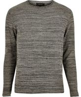 River Island MensDark grey knitted crew neck sweater