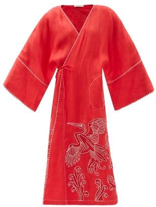 Vita Kin Dancing Bird-embroidered Linen Wrap Dress - Red