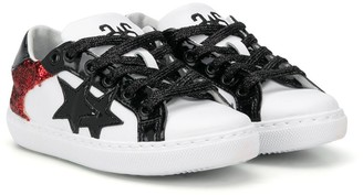 2 Star Kids Glitter Detail Lace-Up Sneakers