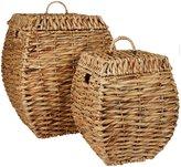 Three Hands Woven Decorative Storage Baskets, Set of 2 - Tan