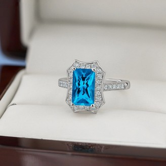 Auriya Vintage 1 3/4ct Emerald-cut Swiss-Blue Topaz and Halo Diamond Engagement Ring 3/8ctw 14k Gold