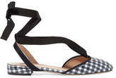 J.Crew Foster Sequined Gingham Canvas Ballet Flats - Navy