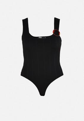 Missguided Plus Size Black Rib Buckle Shoulder Bodysuit