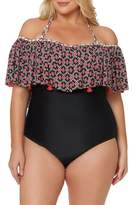 Jessica Simpson Plus Size Women's Off The Shoulder One-Piece Swimsuit