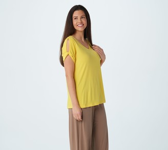 Susan Graver Liquid Knit Top with Twisted Split Sleeve Detail