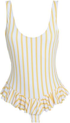 Caroline Constas Ruffle-trimmed Striped Swimsuit