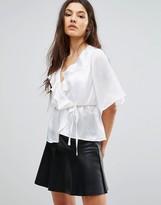 Club L Satin Tie Up Kimono Sleeve Top With Ruffle Detail
