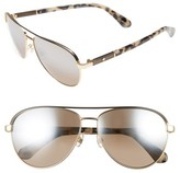 Kate Spade Women's Emilyann 59Mm Aviator Sunglasses - Gold/ Beige Havana