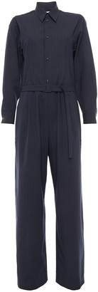 MM6 MAISON MARGIELA Belted Pinstriped Crepe Jumpsuit