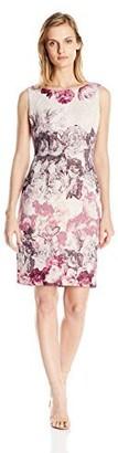 Adrianna Papell Women's Petite Rose Print Sleeveless Sheath Dress