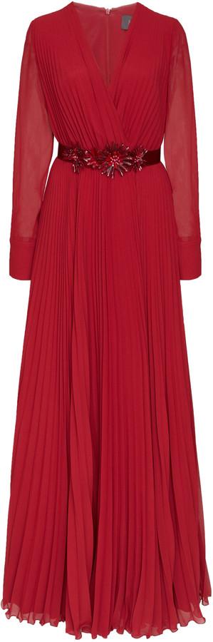 Max Mara Genarca Belted Plisse Georgette Sable Maxi Dress