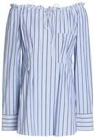 Tibi Off-The-Shoulder Striped Cotton-Poplin Top