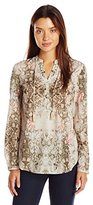 """Tribal Women's """"Nature's Own""""Printed Crepe Blouse"""