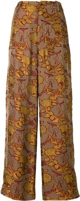 UMA WANG Floral-Embroidered Palazzo Trousers