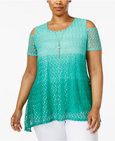 NY Collection Plus Size Ombrandeacute; Lace Cold-Shoulder Top