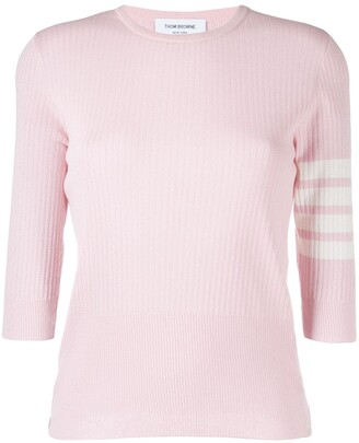 Thom Browne ribbed-knit 4-Bar stripe top