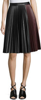 1 STATE 1.STATE Faux-Leather Pleated Midi Skirt, Black