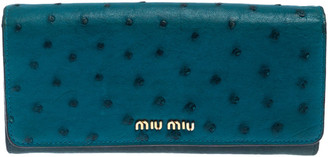 Miu Miu Teal Ostrich and Leather Continental Wallet