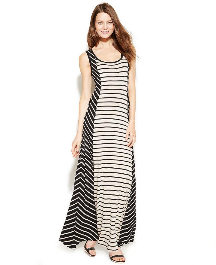 Calvin Klein Sleeveless Stripe-Panel Maxi Dress