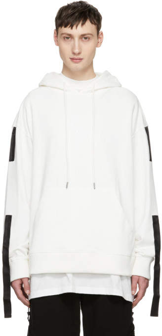 D.gnak By Kang.d SSENSE Exclusive White Three Tapes Hoodie